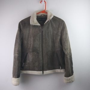 Kenneth Cole Reaction Leather Sherpa Lining Coat